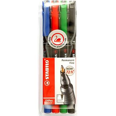 STABILO OHPen F (0.7 mm) permanent - Etui de 4 Etui de 4 marqueurs assortis permanents avec pointe ogive de 0.7 mm