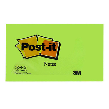 Post-it Bloc 100 feuillets 76 x 127 mm Néon Vert