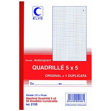 ELVE Autocopiant quadrillé A5 5 x 5 ELVE Autocopiant quadrillé A5 5 x 5