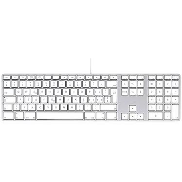 Apple Keyboard MB110SM/B Clavier filaire compact avec pavé numérique et ports USB (QWERTZ, Suisse)