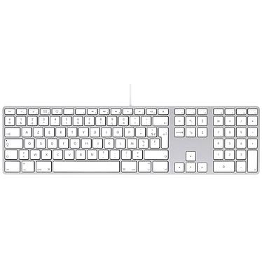 Apple Keyboard MB110FN/B Clavier filaire compact avec pavé numérique et ports USB (AZERTY, Belge)