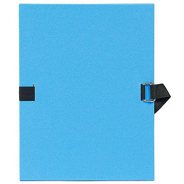 Exacompta Chemise à sangle papier toilé Bleu ciel Chemise papier toilé à sangle extensible  format 24 x 32 cm coloris  Bleu ciel