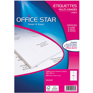 Office Star Etiquettes 99.1 x 38.1 mm x 1400