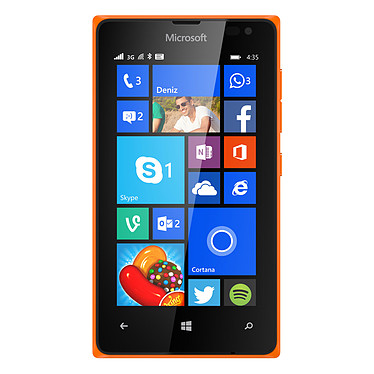 "Microsoft Lumia 435 Orange Smartphone 3G+ - Snapdragon 200 Dual-Core 1.2 GHz - RAM 1 Go - Ecran tactile 4"" 480 x 800 - 8 Go - Bluetooth 4.0 - 1560 mAh - Windows Phone 8.1"