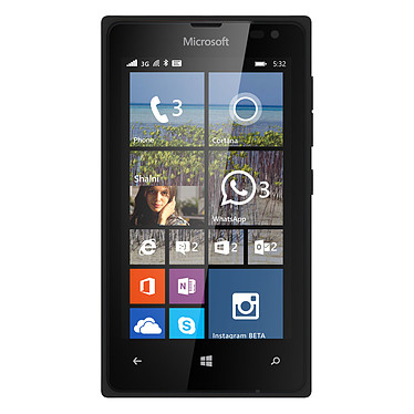 "Microsoft Lumia 532 Single SIM Noir Smartphone 3G+ - Snapdragon 200 Quad-Core 1.2 GHz - RAM 1 Go - Ecran tactile 4"" 480 x 800 - 8 Go - Bluetooth 4.0 - 1560 mAh - Windows Phone 8.1"
