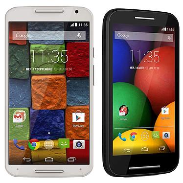"""Motorola Moto X 2ème Génération 16 Go Bambou Blanc + Moto E Noir OFFERT ! Smartphone 4G-LTE avec écran tactile Full HD AMOLED 5.2"""" sous Android 4.4 + Smartphone 3G+ Dual SIM avec écran tactile 4.3"""" sous Android 4.4"""