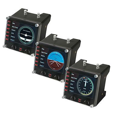 Saitek Pro Flight Instrument Panel x3 Pack de 3 écrans de contrôle LCD 3.5'' multifonction pour simulateur de vol