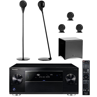 Pioneer SC-LX58K Noir + Cabasse pack Eole 3 5.1 Noir Ampli-tuner Home Cinéma 9.2 Ultra HD 4K Upscaling, Wi-Fi, Bluetooth et AirPlay avec 8 entrées HDMI 2.0, Dolby Atmos + Ensemble 5.1