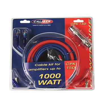 Caliber CPK15D Kit de câblage pour amplificateurs jusqu'à 1000W - 5m câble d'alimentation (15mm2)