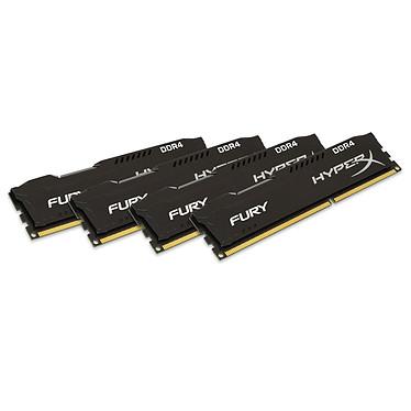 HyperX Fury Noir 32 Go (4x 8 Go) DDR4 2666 MHz CL15 Kit Quad Channel 4 barrettes de RAM DDR4 PC4-21300 - HX426C15FBK4/32 (garantie 10 ans par Kingston)