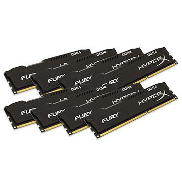 HyperX Fury Noir 64 Go (8x 8 Go) DDR4 2133 MHz CL14 Kit Quad Channel 8 barrettes de RAM DDR4 PC4-17000 - HX421C14FBK8/64 (garantie 10 ans par Kingston)