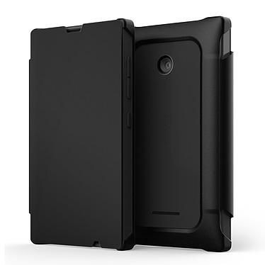Mozo Works With Nokia Flip Cover Noir pour Microsoft Lumia 435 Etui Folio pour Microsoft Lumia 435