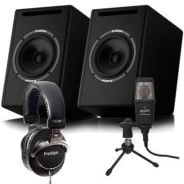 Prodipe Pack Studio Vidéo Ensemble Enceinte de monitoring TDC5, Micro Studio ST-USB, Trépied de table, Casque de monitoring 3000B