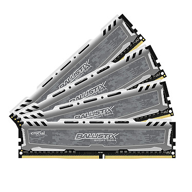 Ballistix Sport LT 32GB (4 x 8GB) DDR4 3000 MHz CL16 SR RAM de cuatro canales DDR4 PC4-24000 - BLS4K8G8G8G4D30BESBKK (10 años de garantía de Crucial)
