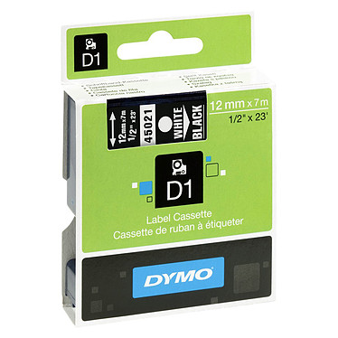 DYMO Ruban D1 Standard - blanc/noir 12 mm - 7 m