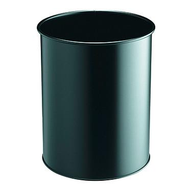 DURABLE Papelera redonda de metal 15 litros color negro