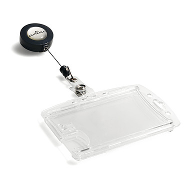 DURABLE Boîte de 10 porte-badges de sécurité avec enrouleur pour 2 cartes 5.4 x 8.5 cm