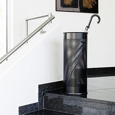 Avis DURABLE Corbeille porte-parapluies ronde en métal perforé H 62cm coloris noir