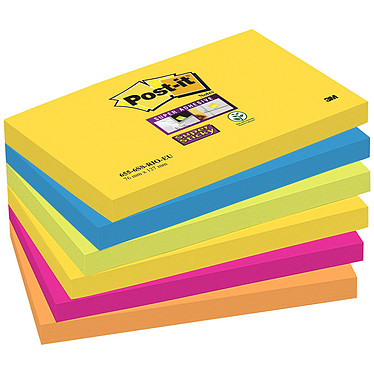"Post-it Bloc ""Super Sticky"" 76 x 127 mm Rio x 6 Lot de 6 blocs de 90 feuillets 76 x 127"