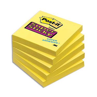 "Post-it Bloc ""Super Sticky"" 76 x 76 mm Jaune Bloc de 90 feuillets 76 x 76 mm"