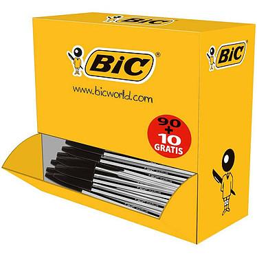 BIC Cristal Eco Pack de 90 stylos à bille noir + 10 gratuits Pack de 90 stylos bille à pointe moyenne 1 mm noir + 10 gratuits !