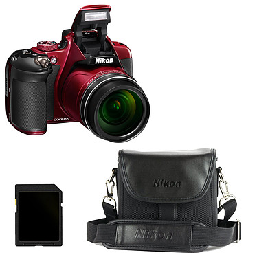 Nikon Coolpix P610 Rouge + CS-P08 + Carte SDHC 4 Go