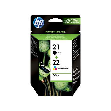 HP Combo Pack 21/22 Noir/3 couleurs (SD367AE) Pack de 2 cartouches d'encre noire et 3 couleurs (190 pages en noir, 165 pages en trois couleurs à 5%)
