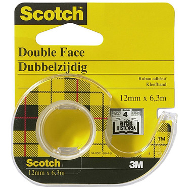 Scotch Ruban double-face avec dévidoir 12 mm x 6.3 m Ruban adhésif double face sur dévidoir 12 mm x 6.3 m