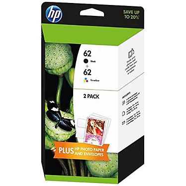 HP pack 62 noir et tricolore - J3M80AE Pack de 2 cartouches d'encre noire et tricolore (Cyan/Magenta/Jaune) + 10 feuilles de papier photo + 5 enveloppes