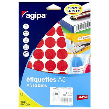 Agipa Lot de 400 pastilles autocollantes diamètre 24 mm Rouge