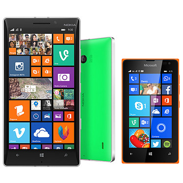 "Nokia Lumia 930 Vert + Lumia 435 Dual SIM Orange Smartphone 4G-LTE avec écran tactile 5"" ClearBlack OLED Full HD sous Windows Phone 8.1 (Lumia Cyan) + Smartphone 3G+ Dual SIM avec écran tactile 4"" sous Windows Phone 8.1"