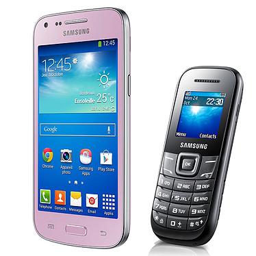 """Samsung Galaxy Core Plus SM-G350 Rose + E1200 Noir Smartphone 3G+ avec écran tactile 4.3"""" sous Android 4.2 + Téléphone 2G avec écran 1.52"""""""