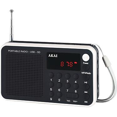 Akai AR-68KW Radio réveil portable avec sortie casque, port USB et lecteur de carte microSD