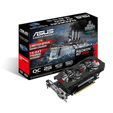 ASUS Radeon R7 360 R7360-OC-2GD5 2 Go Dual DVI/HDMI/DisplayPort - PCI Express (AMD Radeon R7 360)
