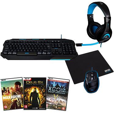 Bluestork KINGDOM#1 + 4 jeux mythiques OFFERTS ! Ensemble complet pour gamer (clavier + souris optique + tapis de souris XXL + casque-micro + 4 jeux offerts)