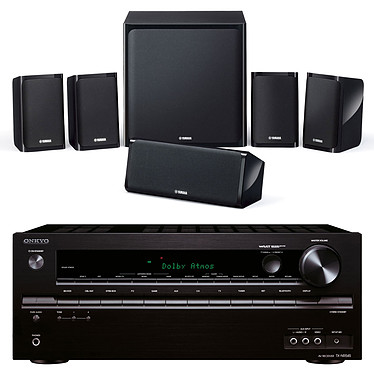 Onkyo TX-NR545 Noir + Yamaha NS-P40 Ampli-tuner Home Cinéma 7.2 Wi-Fi, Bluetooth, DLNA, AirPlay avec HDMI 4K, DAC AKM et Dolby Atmos + Pack d'enceintes 5.1