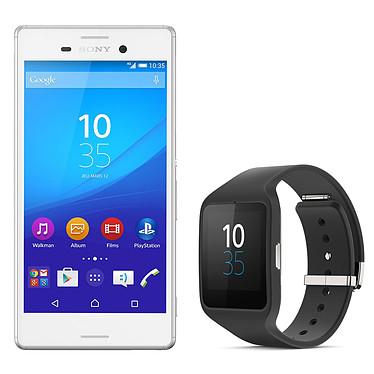 """Sony Xperia M4 Aqua Dual SIM Blanc + Sony SmartWatch 3 Smartphone 4G-LTE Dual SIM waterproof certifié IP68 avec écran tactile HD 5"""" sous Android 5.0 + Montre Android Bluetooth/NFC certifiée IP68"""