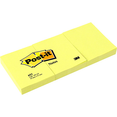 Post-it Bloc 100 feuillets 38 x 51 mm Jaune x 3 Lot de 3 blocs de 100 feuilles 38 x 51 mm