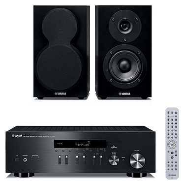 Yamaha R-N301 Noir + Yamaha NS-BP150 Amplificateur stéréo intégré 2 x 100 W avec DAC, AirPlay et DLNA + Enceinte bibliothèque (par paire)