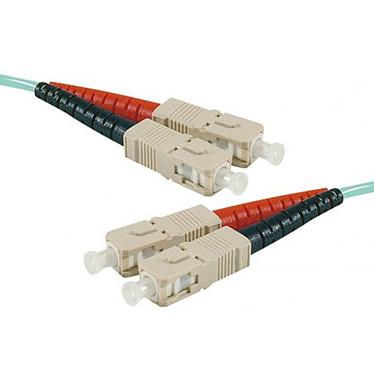 Câble fibre optique multimode OM4 50/125 SC-UPC/SC-UPC (1 mètre) Jarretière multimode Cyan