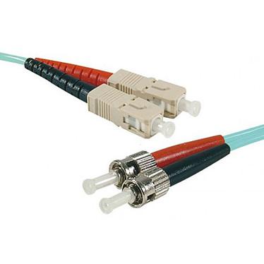 Câble fibre optique multimode OM4 50/125 SC-UPC/ST-UPC (10 mètres) Jarretière multimode Cyan