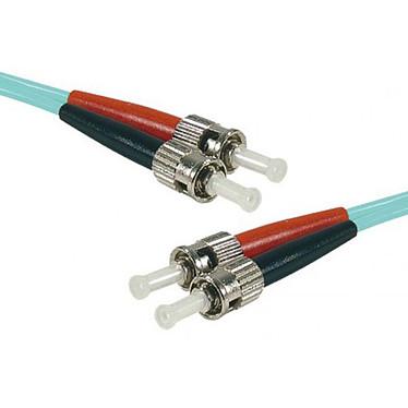 Cable de fibra óptica multimodo OM4 50/125 ST/ST (5 metros)  Puente multimodo cian