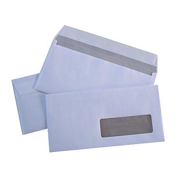 500 enveloppes DL auto-adhésives 80G fenêtre 35x100 Boite de 500 enveloppes format DL 80g fenêtre 35x100 mm avec bande de protection