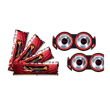 G.Skill RipJaws 4 Series Rouge 16 Go (4x 4 Go) DDR4 3300 MHz CL16 Kit Quad Channel 4 barrettes de RAM DDR4 PC4-26400 - F4-3300C16Q-16GRRD +  2 kits de ventilateurs (garantie 10 ans par G.Skill)