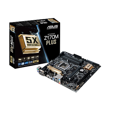 ASUS Z170M-Plus Carte mère Micro-ATX Socket 1151 Intel Z170 Express - SATA 6Gb/s + SATA Express + M.2 - USB 3.1 - 2x PCI-Express 3.0 16x