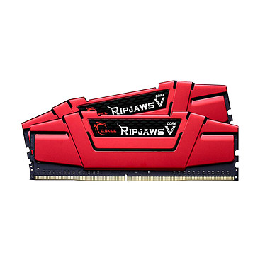 G.Skill RipJaws 5 Series Rouge 8 Go (2x 4 Go) DDR4 2400 MHz CL17 Kit Dual Channel 2 barrettes de RAM DDR4 PC4-19200 - F4-2400C17D-8GVR