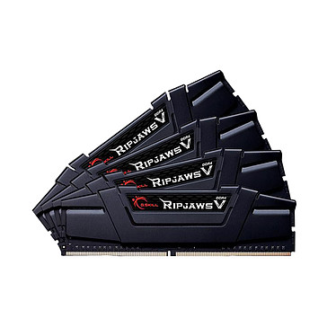 G.Skill RipJaws 5 Series Noir 32 Go (4x 8 Go) DDR4 3200 MHz CL16 Kit Quad Channel 4 barrettes de RAM DDR4 PC4-25600 - F4-3200C16Q-32GVK (garantie 10 ans par G.Skill)