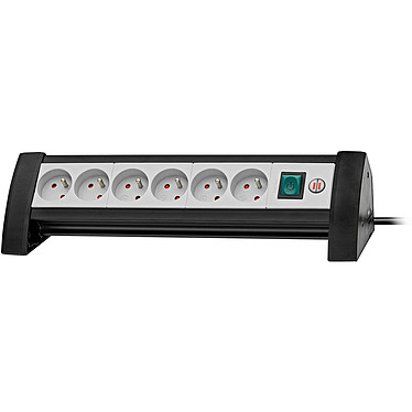 Brennenstuhl Premium-Office-Line (6 prises) Prolongateur multiprise de bureau professionnel avec interrupteur (6 prises - 3 mètres)