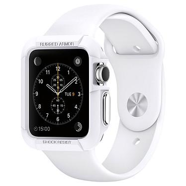 Spigen Apple Watch Case Rugged Armor Blanc (42 mm) Coque de protection avec lot de 2 films de protection pour Apple Watch