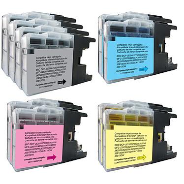Megapack compatible Brother LC1280XL/1240/1220 (Noir, cyan, magenta et jaune) Pack de 10 cartouches d'encre (4 noires, 2 cyan, 2 magenta, 2 jaune) compatibles Brother LC 1280 XL / 1240 / 1220 (1 200 pages à 5%)